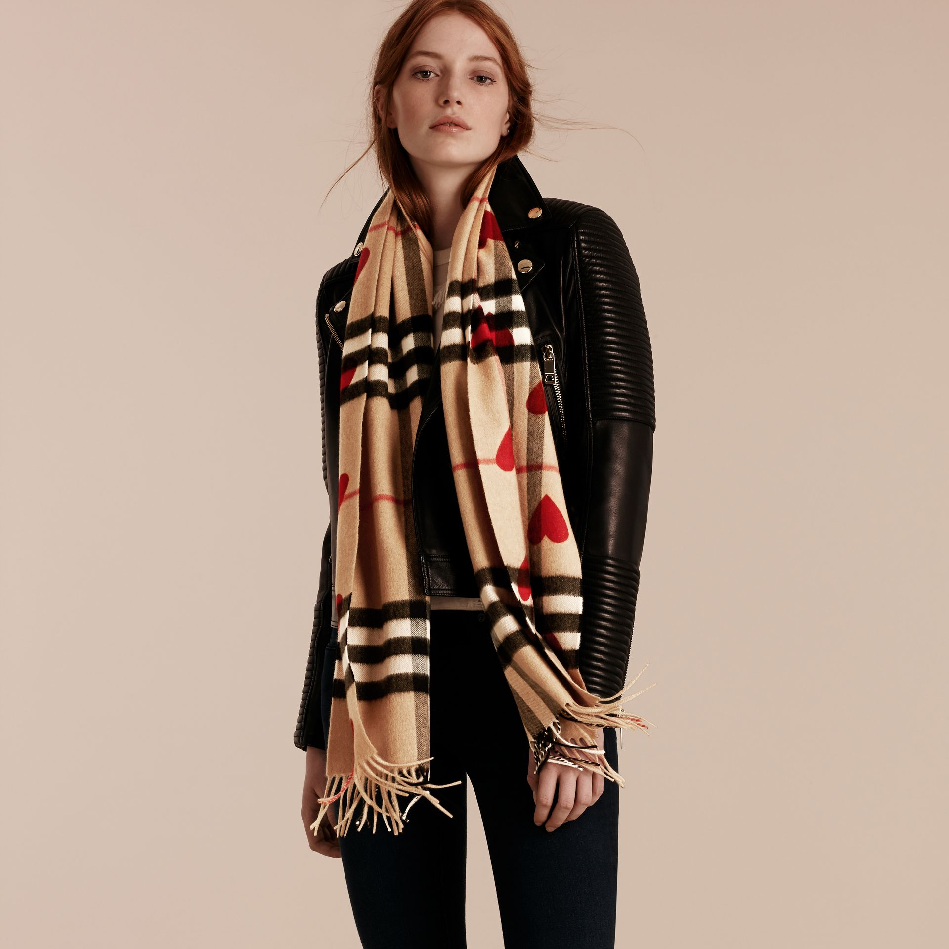 Parade red The Classic Cashmere Scarf in Check and Hearts Parade Red - gallery image 3