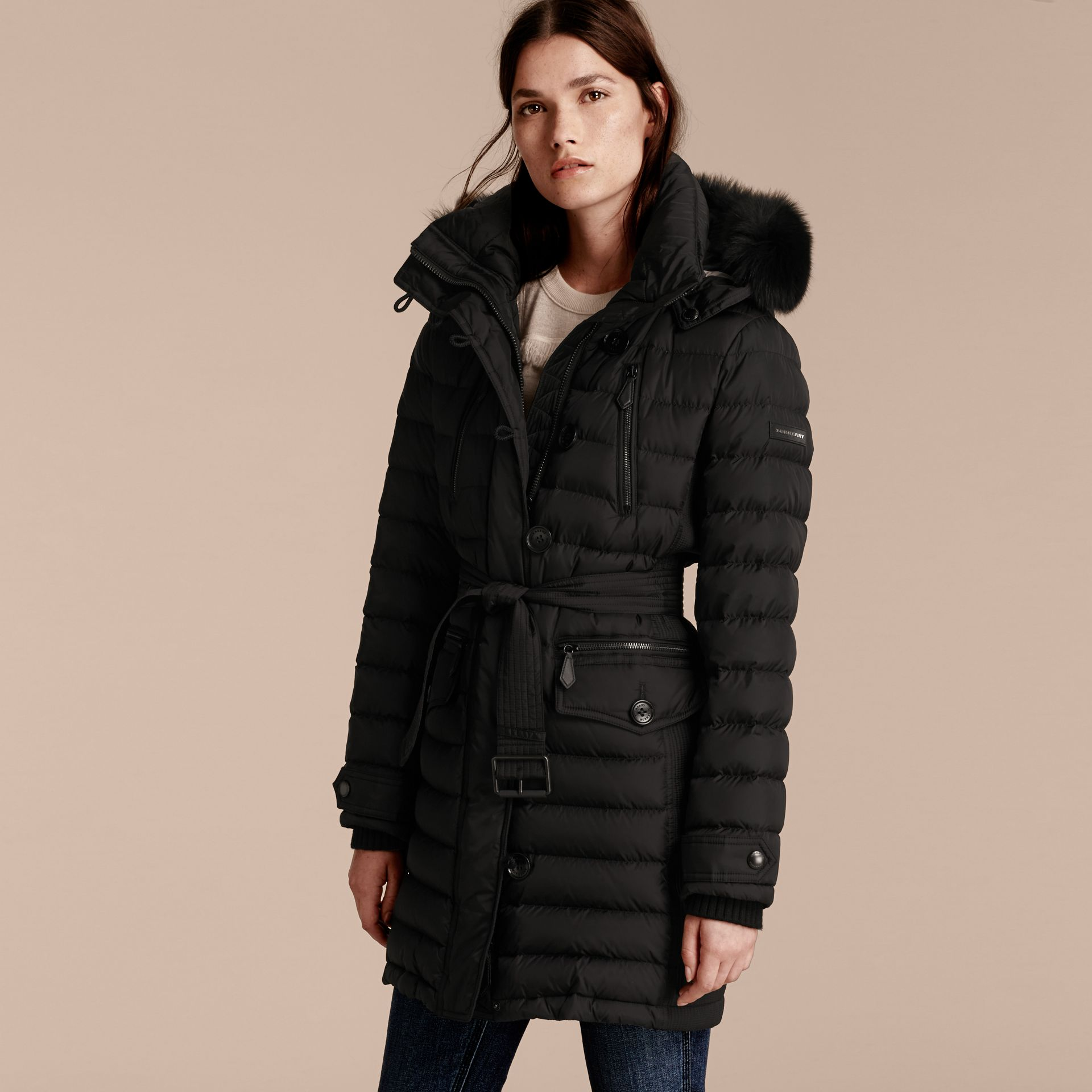 Black Down-filled Parka with Detachable Fox Fur Trim Black - gallery image 7