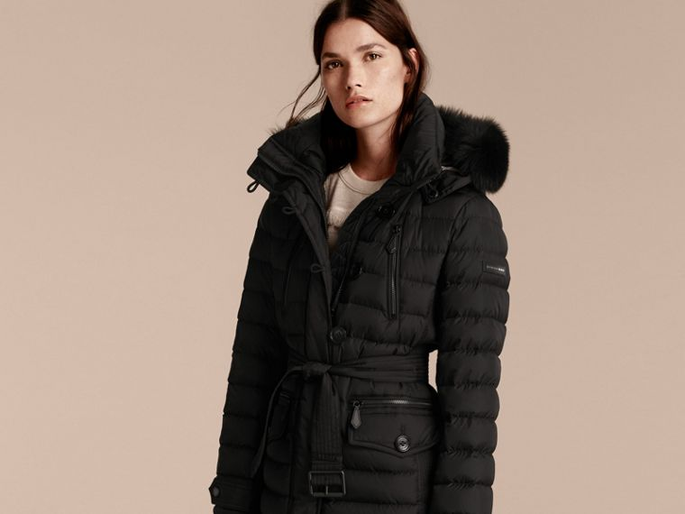 Black Down-filled Parka with Fur Trim Black - cell image 4