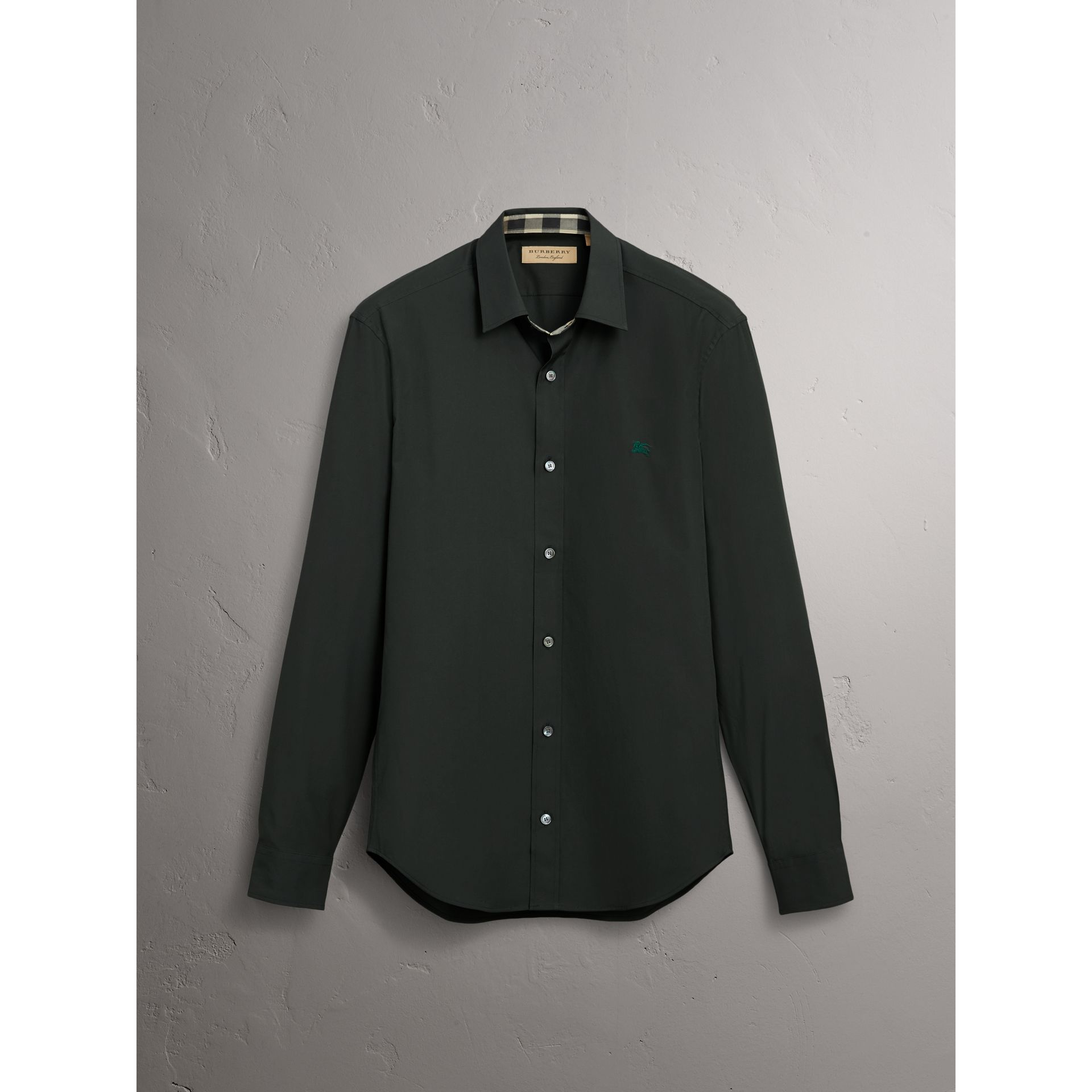 Check Detail Stretch Cotton Poplin Shirt in Dark Forest Green - Men | Burberry - gallery image 6