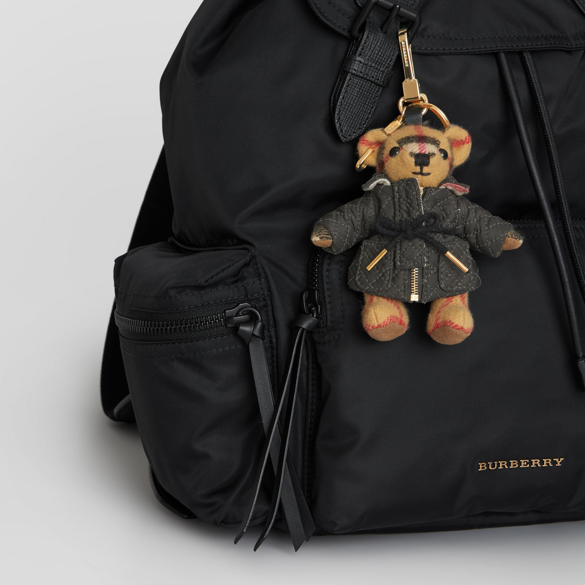 Thomas Bear Charm in Quilted Jacket in Antique Yellow | Burberry Singapore - gallery image 4