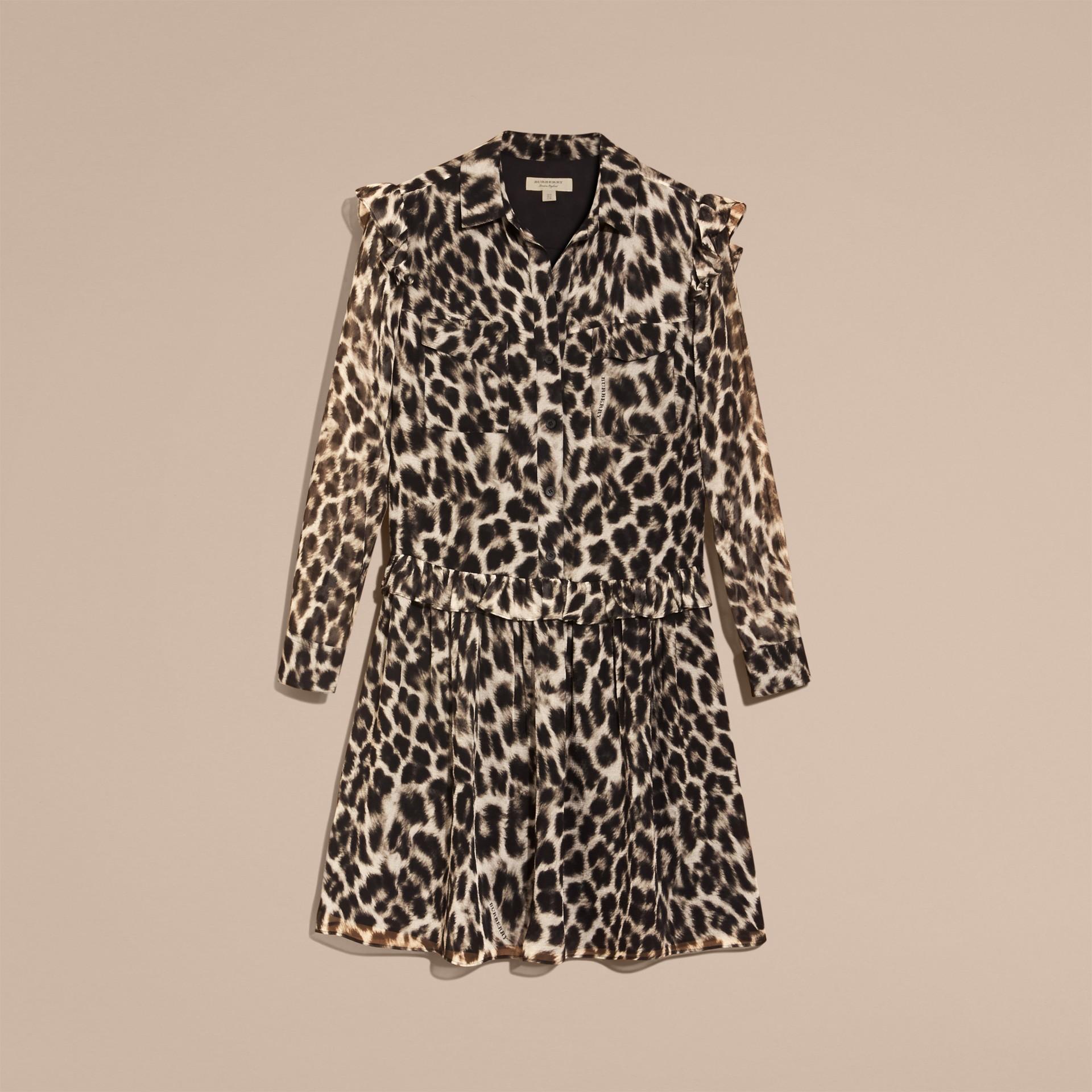 Ruffle Detail Animal Print Silk Dress - gallery image 4
