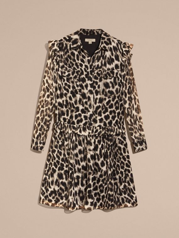 Ruffle Detail Animal Print Silk Dress - cell image 3