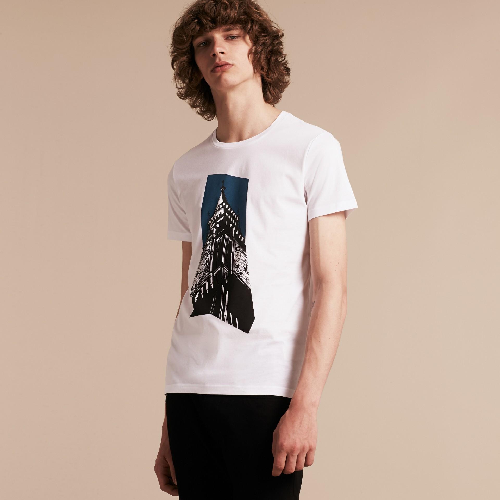 Branco Camiseta de algodão com estampa do Big Ben - galeria de imagens 6