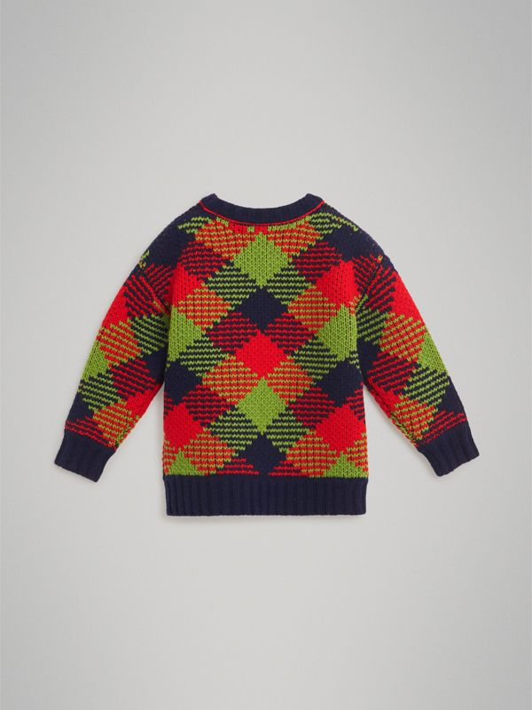 Check Intarsia Wool Blend Sweater in Bright Red | Burberry - cell image 3