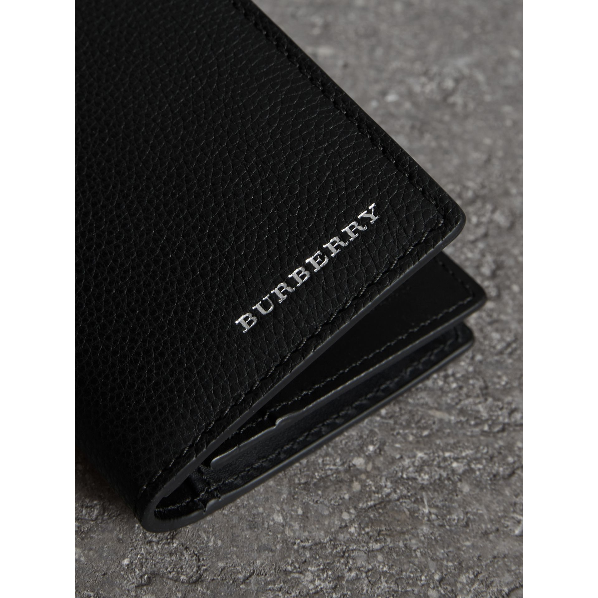 Grainy Leather Folding Card Case in Black | Burberry - gallery image 1