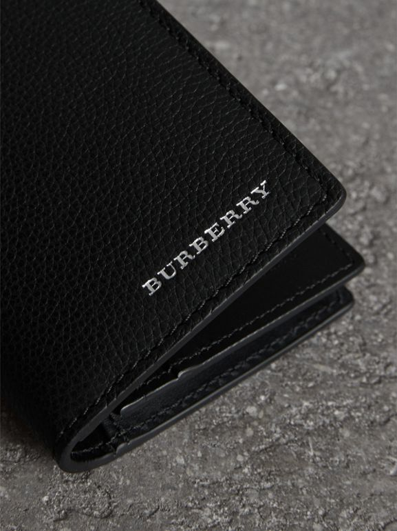 Grainy Leather Folding Card Case in Black | Burberry - cell image 1