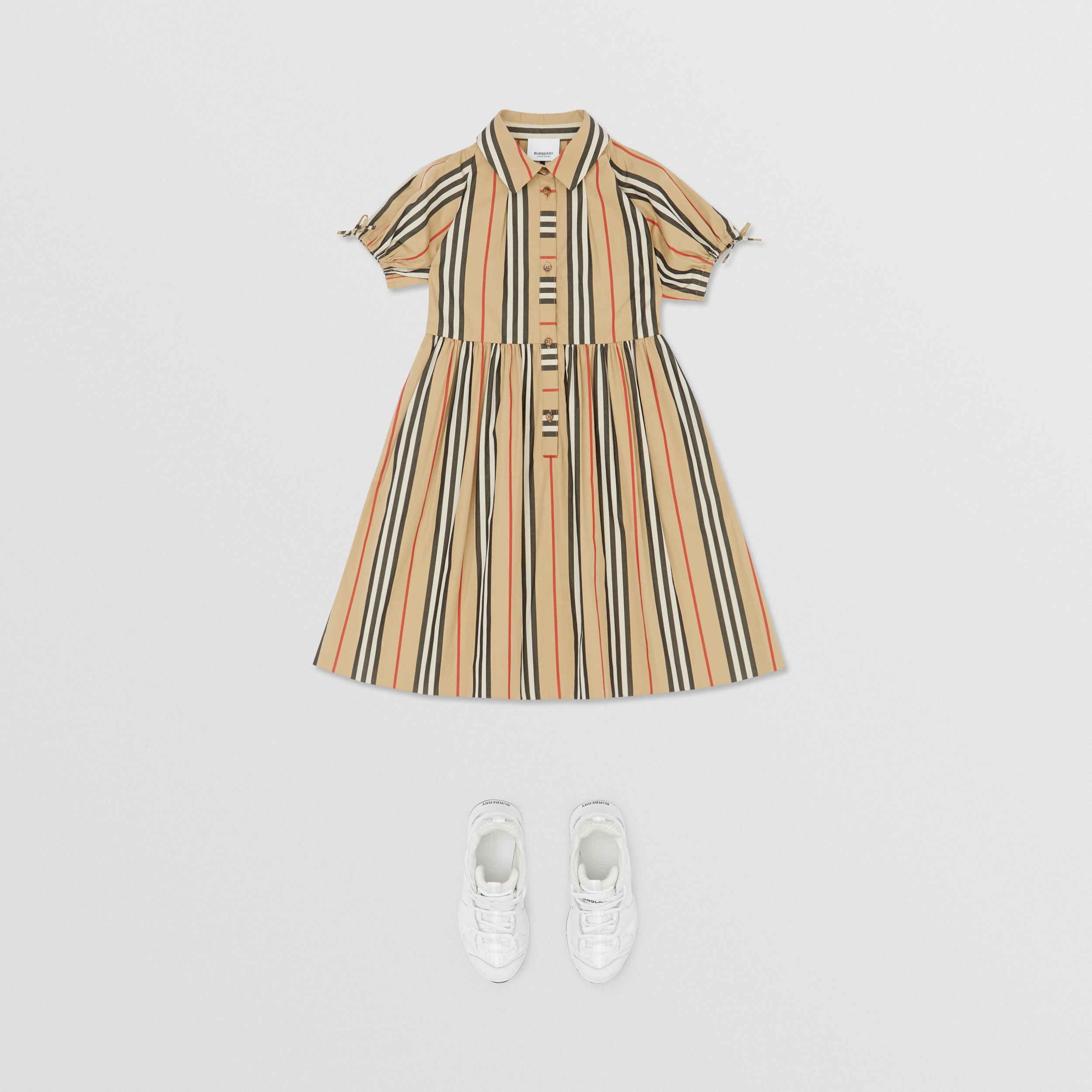 Icon Stripe Cotton Poplin Dress in Archive Beige | Burberry - 3