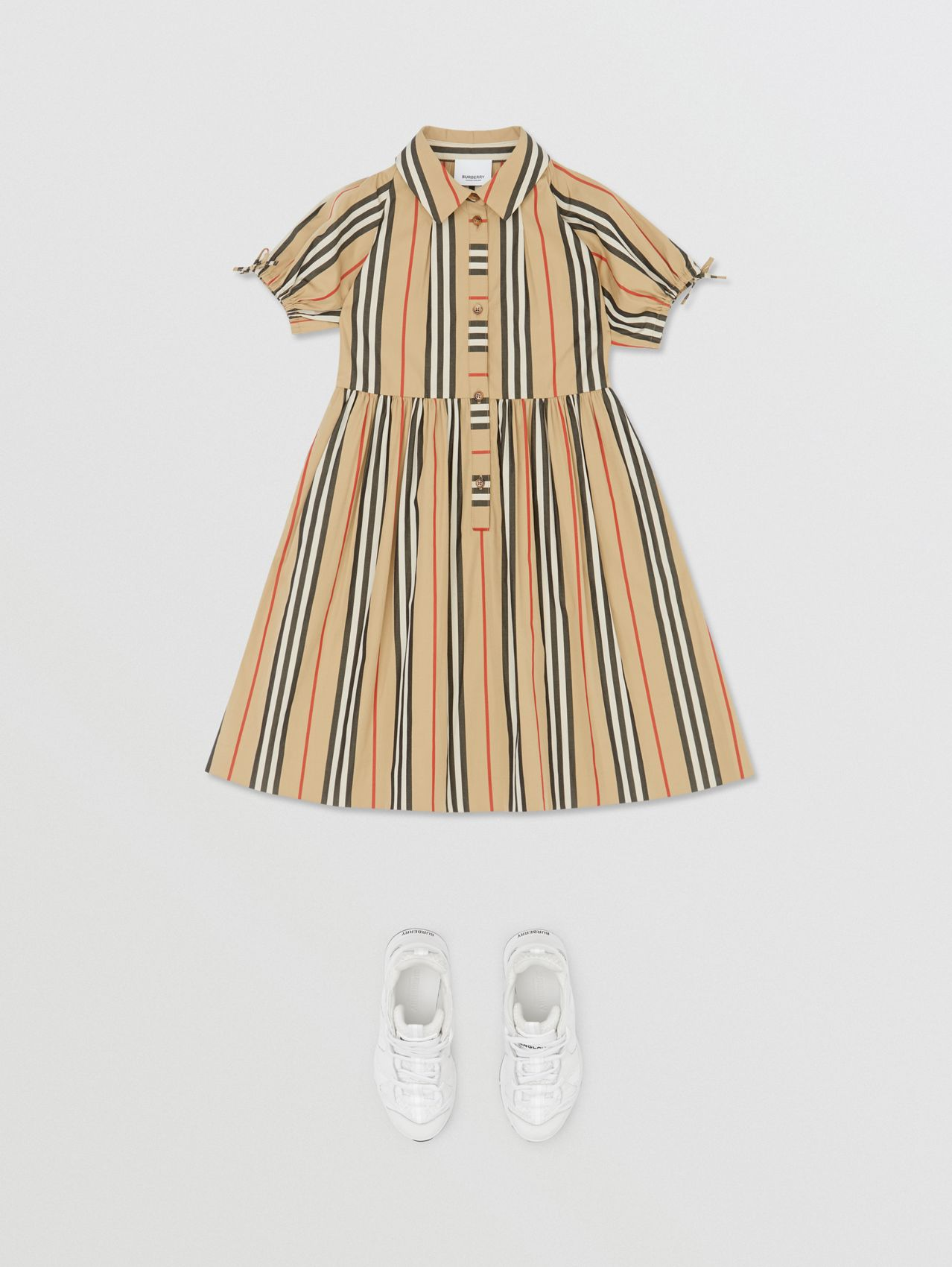 Icon Stripe Cotton Poplin Dress (Archive Beige)