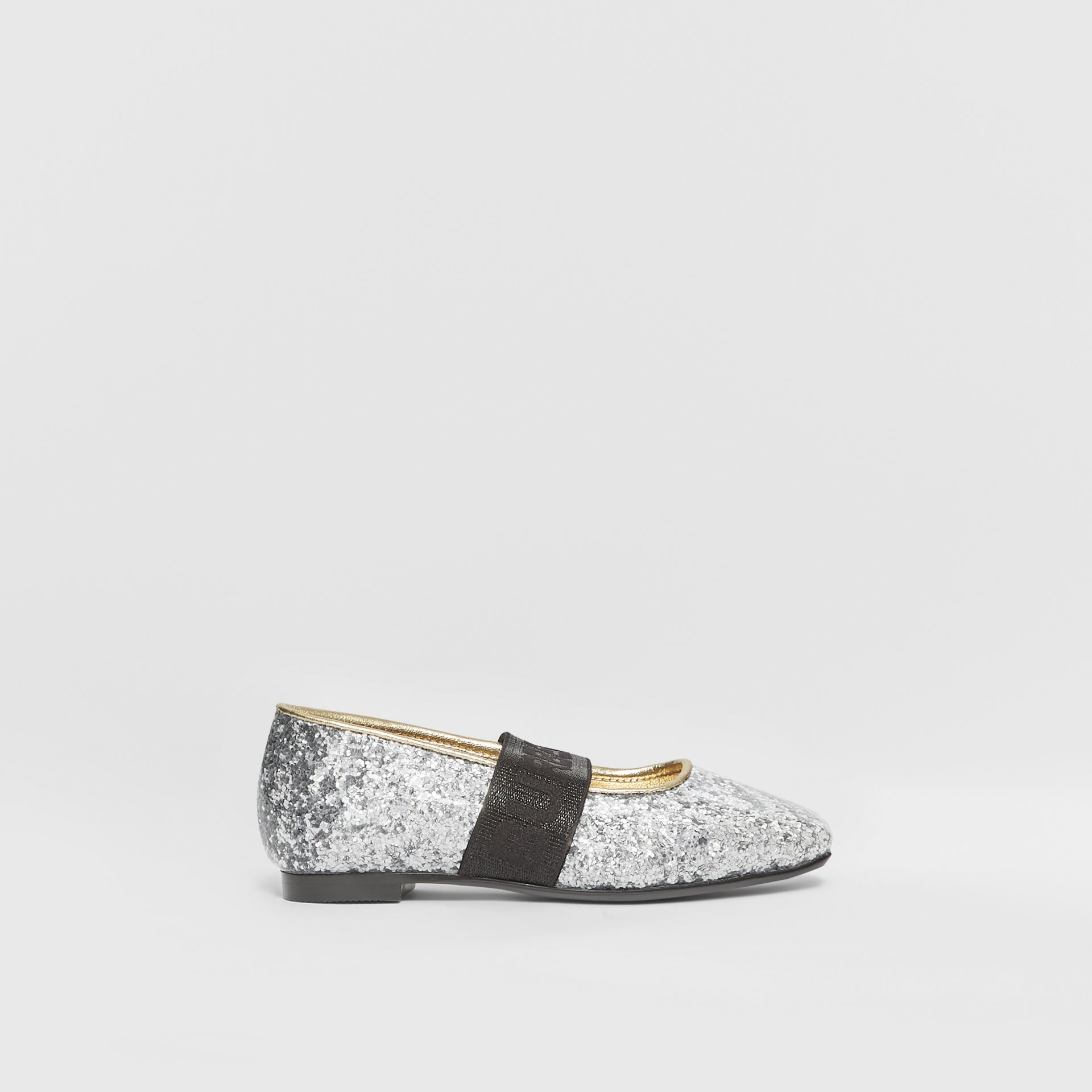 Logo Detail Glittery Flats in Silver - Children | Burberry United Kingdom - gallery image 3