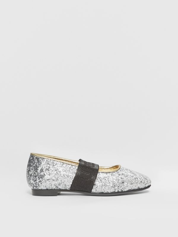 Logo Detail Glittery Flats in Silver - Children | Burberry United Kingdom - cell image 3