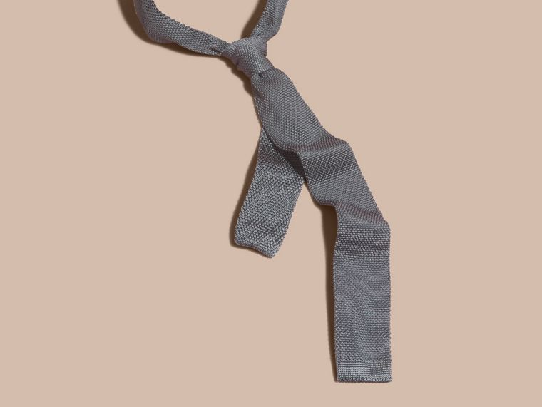 中灰色 窄版剪裁針織絲質領帶 中灰色 - cell image 2