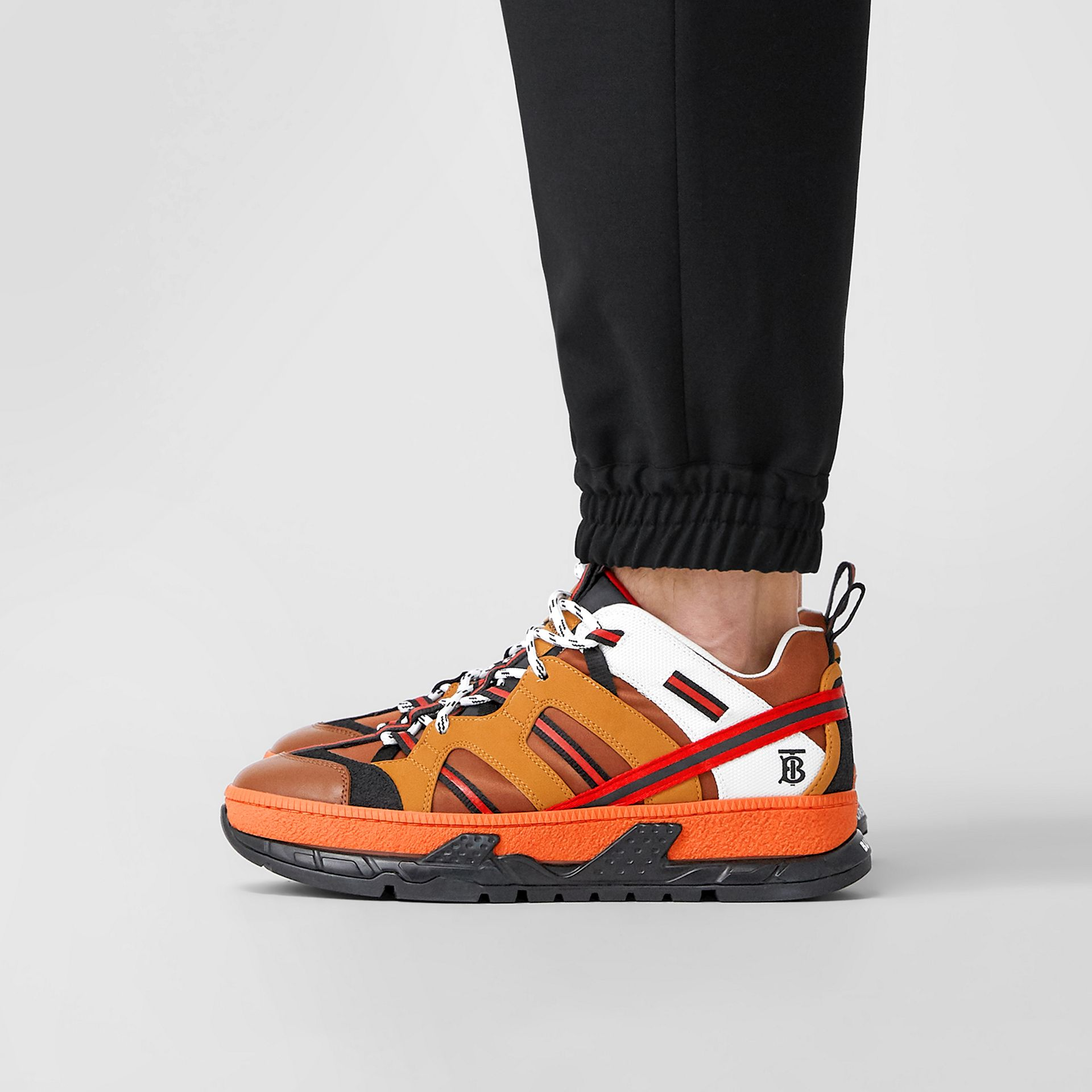 Nylon and Nubuck Union Sneakers in Orange - Men | Burberry United States - gallery image 2