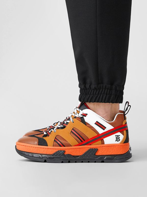 Nylon and Nubuck Union Sneakers in Orange - Men | Burberry - cell image 2