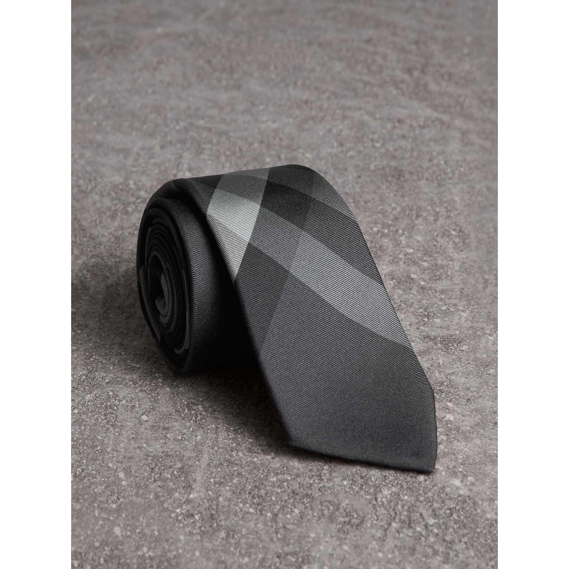 Modern Cut Beat Check Silk Tie in Dark Charcoal - Men | Burberry Australia - gallery image 0
