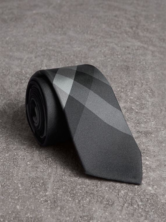 Modern Cut Beat Check Silk Tie in Dark Charcoal