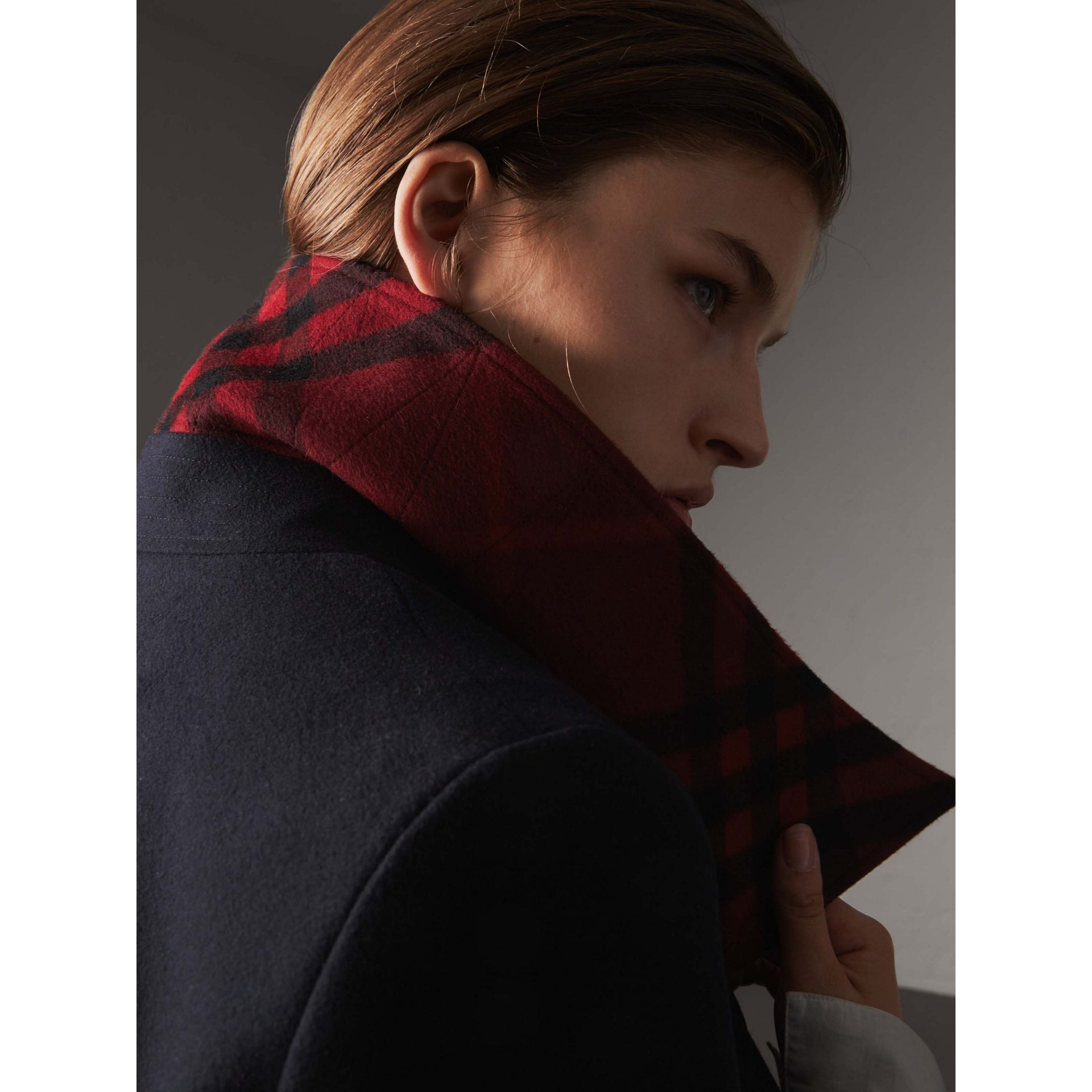 Resin Button Wool Oversize Coat in True Navy - Women | Burberry - gallery image 2