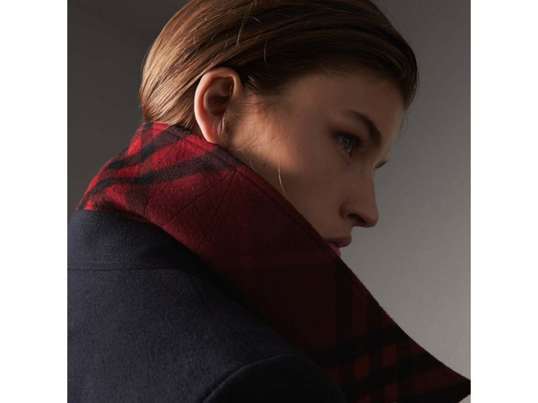 Resin Button Wool Oversize Coat in True Navy - Women | Burberry - cell image 1
