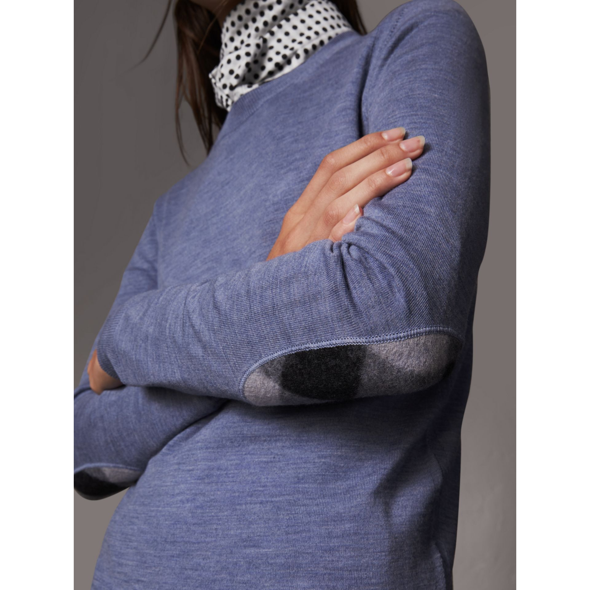 Check Detail Merino Wool Sweater in Indigo Blue - Women | Burberry - gallery image 2