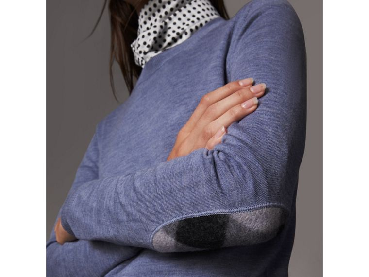 Check Detail Merino Wool Sweater in Indigo Blue - Women | Burberry - cell image 1
