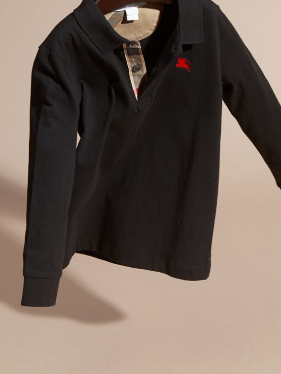 Long-sleeve Cotton Jersey Polo Shirt in Black - Boy | Burberry Australia - cell image 2