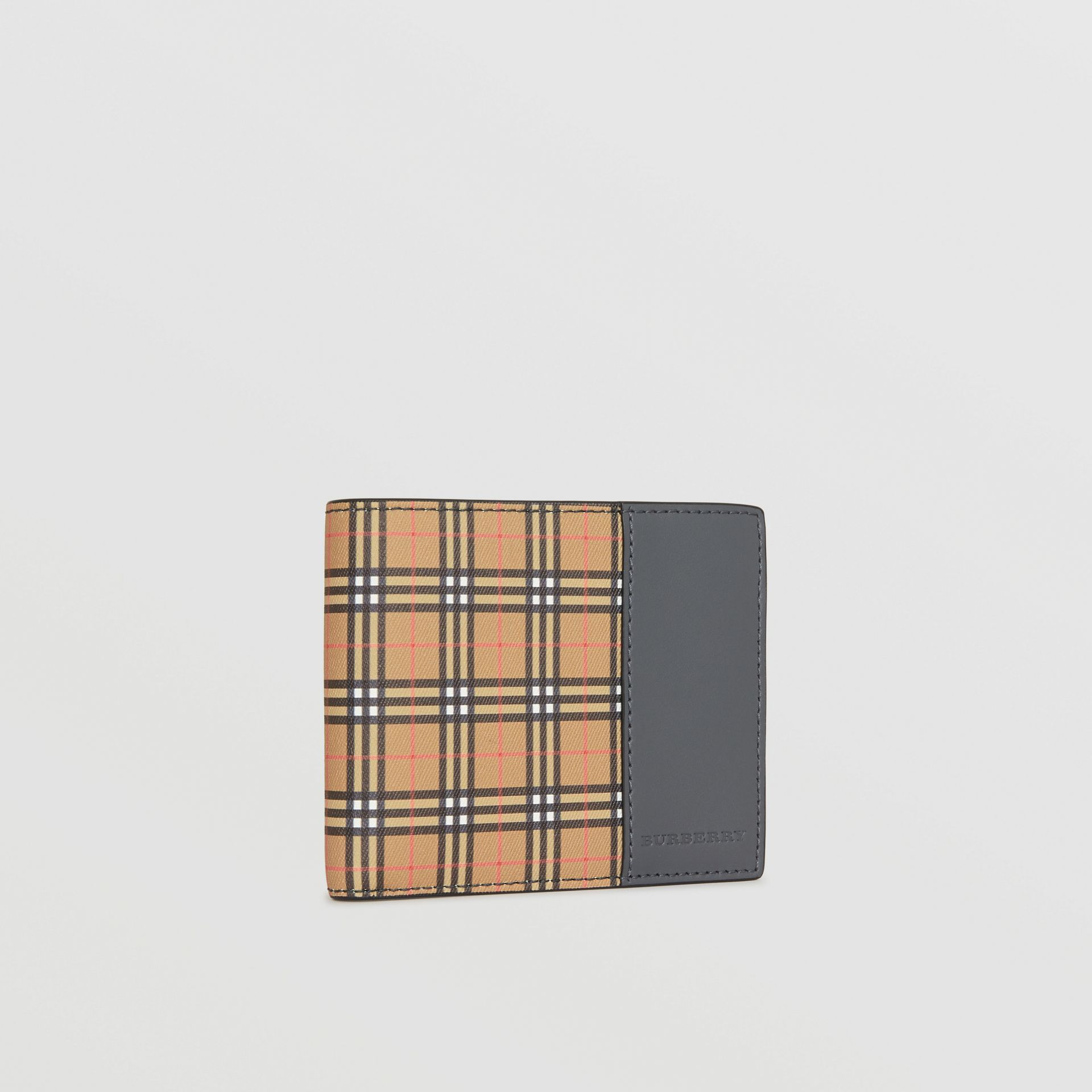 Small Scale Check International Bifold Wallet in Antique Yellow/dark Grey - Men | Burberry Singapore - gallery image 4