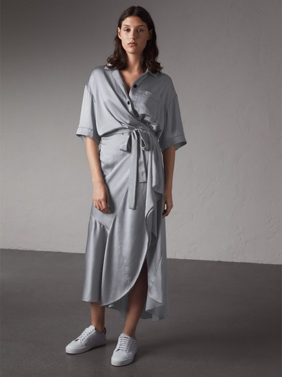 Washed Silk Satin Tie-waist Shirt Dress in Mineral Blue - Women | Burberry