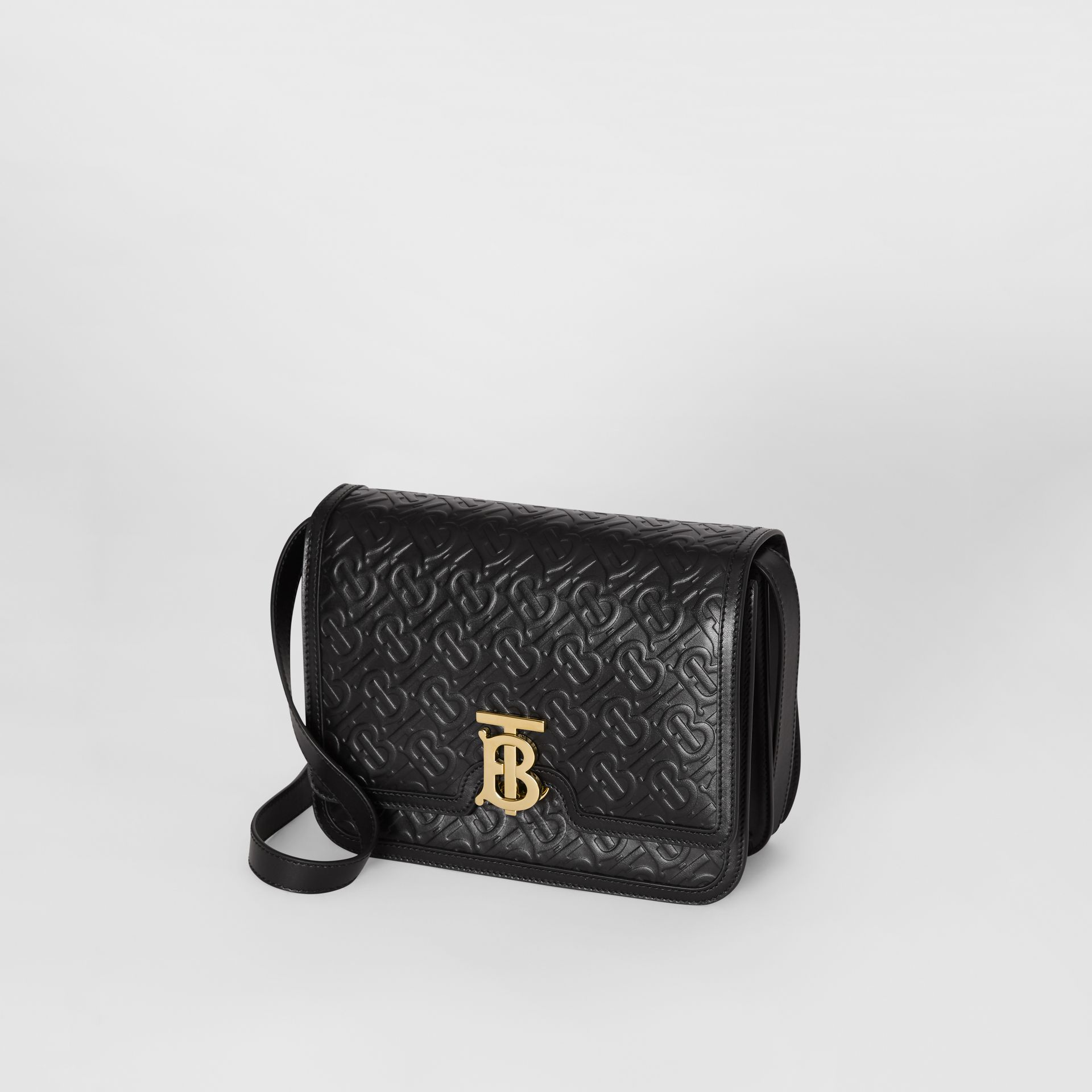 Medium Monogram Leather TB Bag in Black - Women | Burberry Canada - gallery image 3