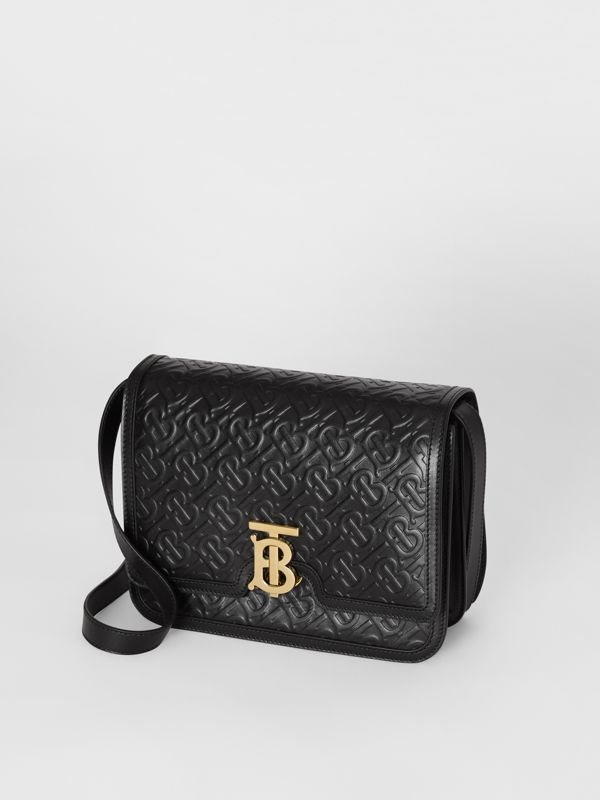Medium Monogram Leather TB Bag in Black - Women | Burberry Canada - cell image 3