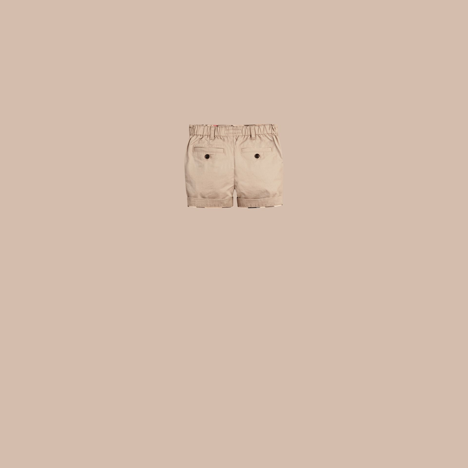 Check Detail Cotton Chino Shorts Taupe - gallery image 2