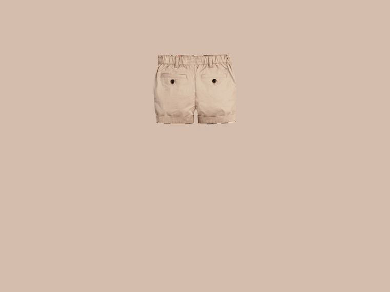 Check Detail Cotton Chino Shorts in Taupe - cell image 1