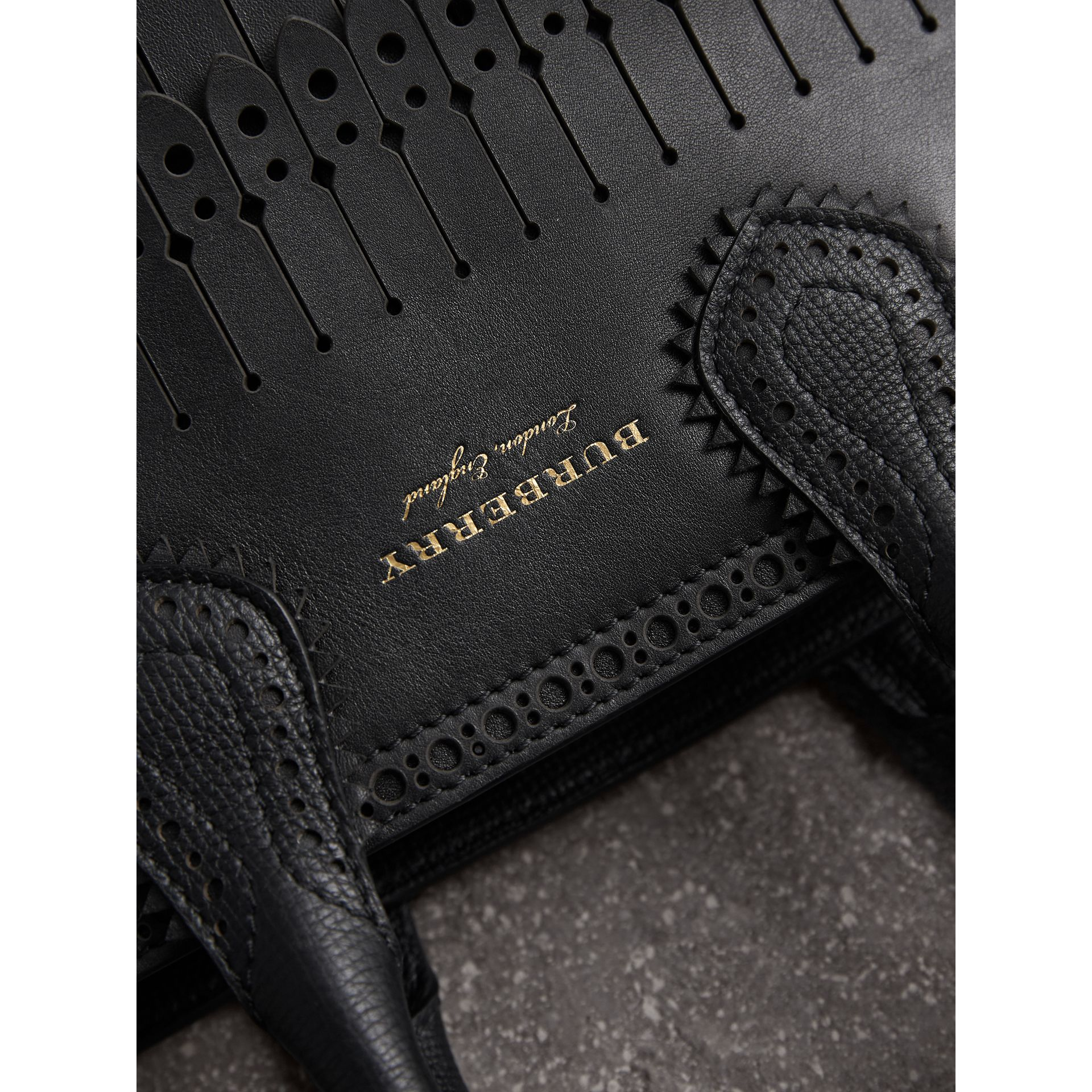 The Small Banner with Brogue Detail in Black - Women | Burberry United Kingdom - gallery image 2