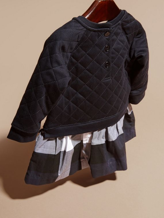 Navy Quilted Jersey and Check Cotton Day Dress - cell image 3