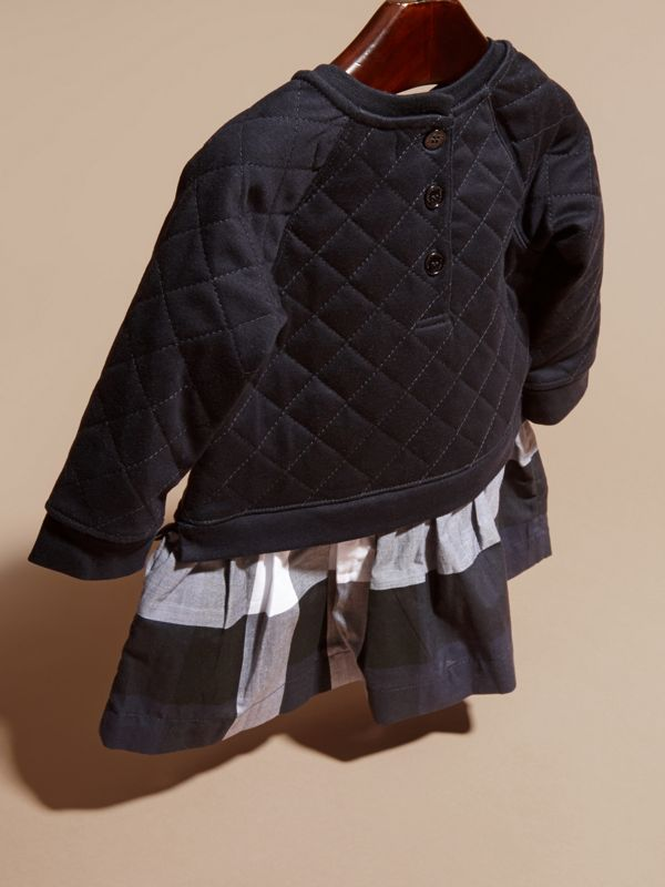 Quilted Jersey and Check Cotton Day Dress in Navy | Burberry - cell image 3
