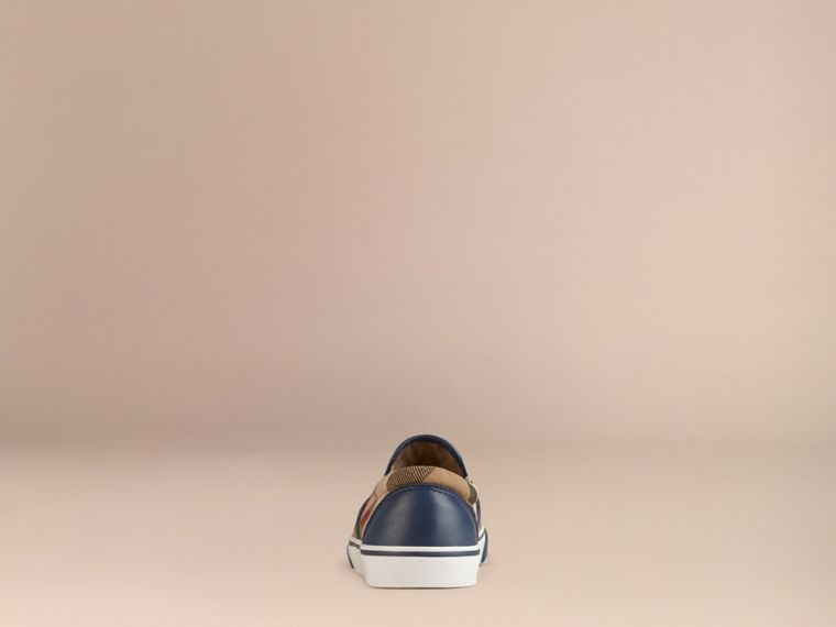 House Check Cotton Slip-On Trainers in Navy | Burberry - cell image 2