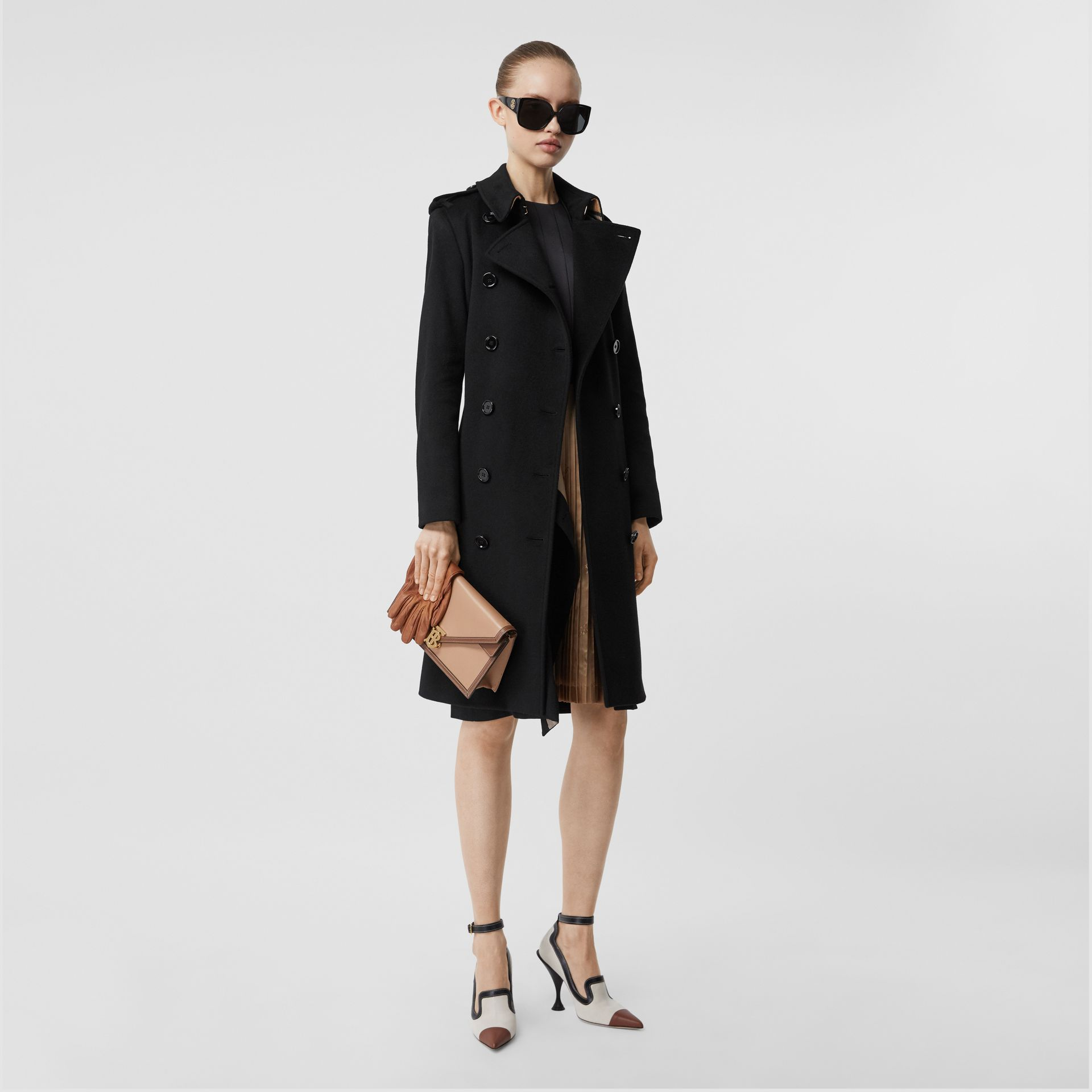 Cashmere Trench Coat in Black - Women | Burberry Singapore - gallery image 6