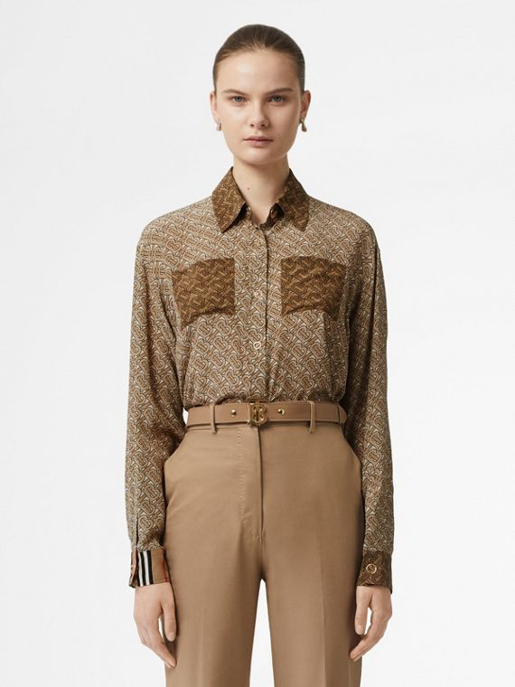 Two-tone Monogram Print Silk Shirt in Light Camel
