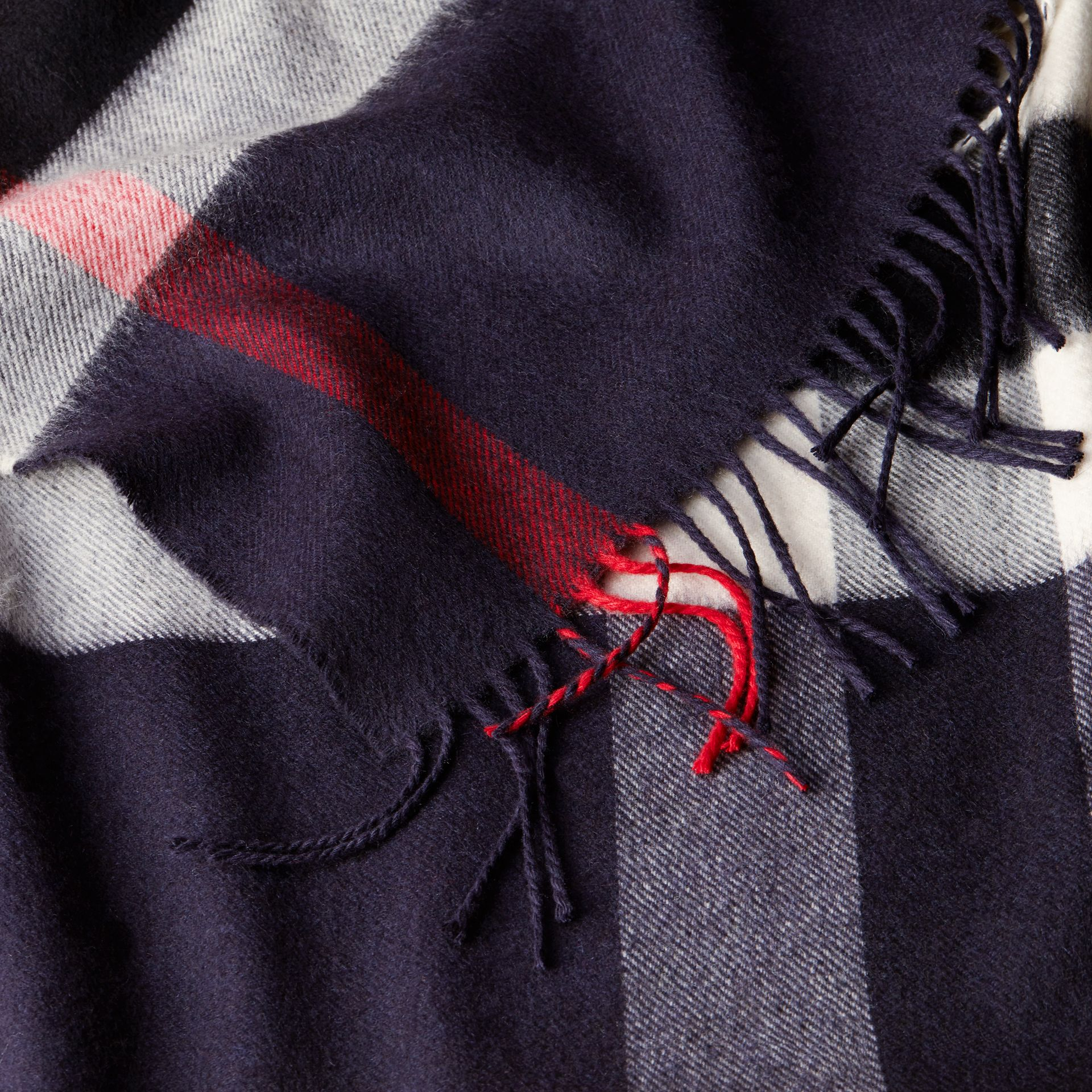 Check Cashmere and Wool Poncho in Navy - Women | Burberry Canada - gallery image 5