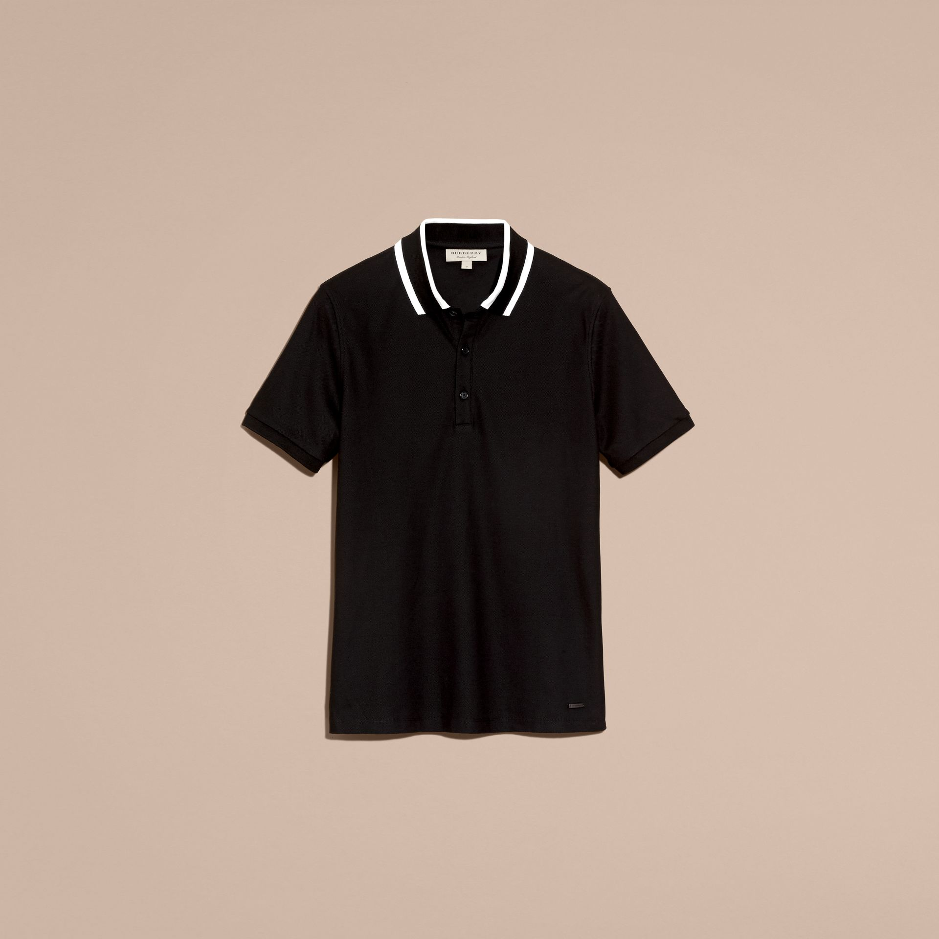 Striped Collar Cotton Piqué Polo Shirt Black - gallery image 4