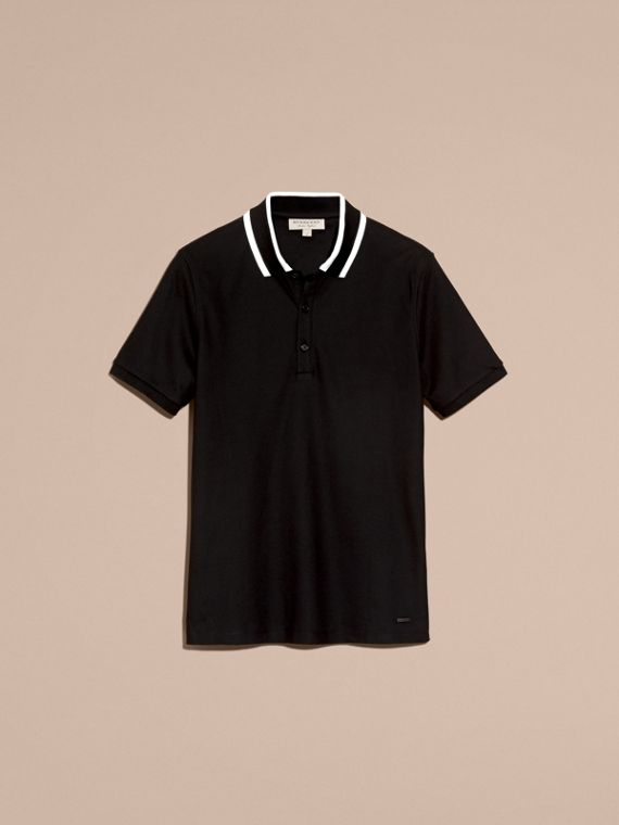 Black Striped Collar Cotton Piqué Polo Shirt Black - cell image 3