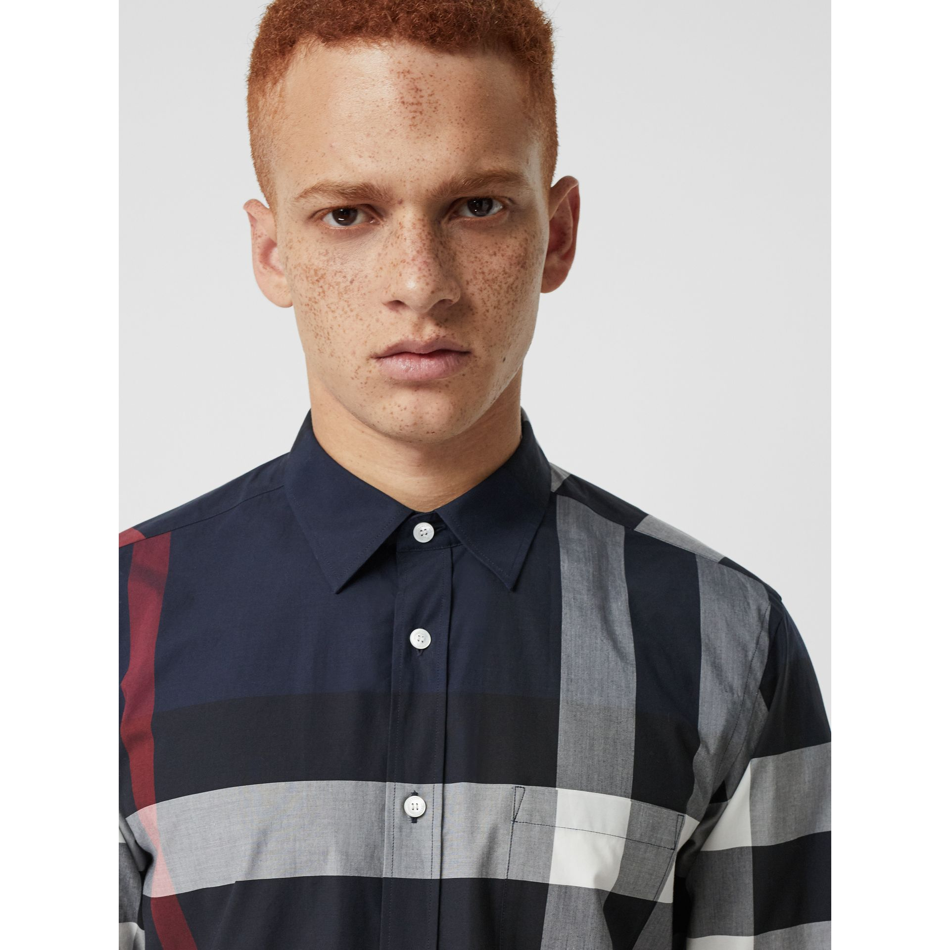 Check Stretch Cotton Shirt in Navy - Men | Burberry Canada - gallery image 1