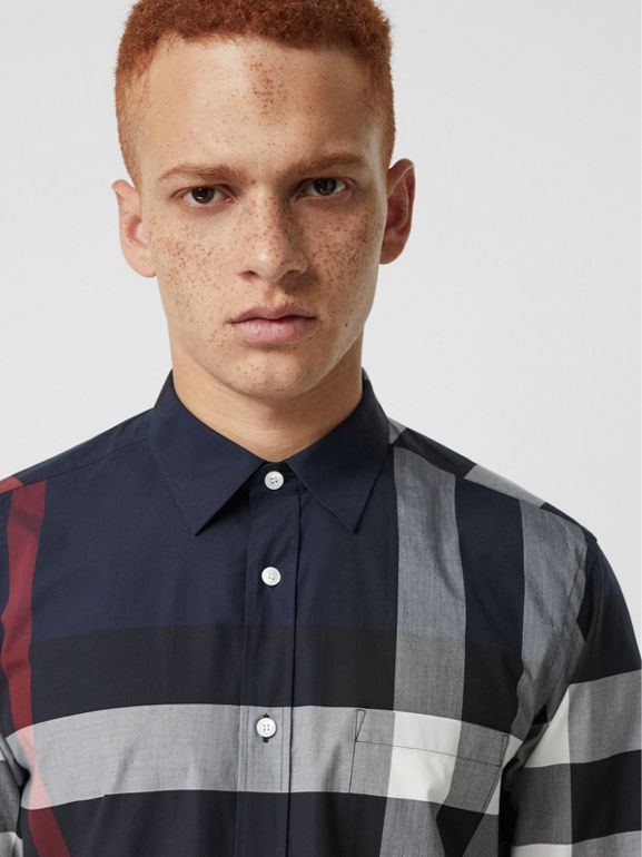 Check Stretch Cotton Shirt in Navy - Men | Burberry - cell image 1