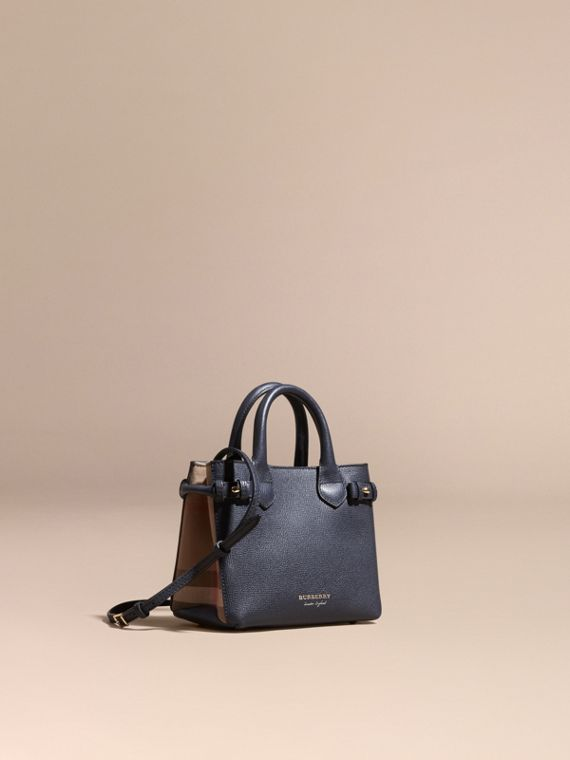 The Baby Banner in Leather and House Check in Ink Blue - Women | Burberry