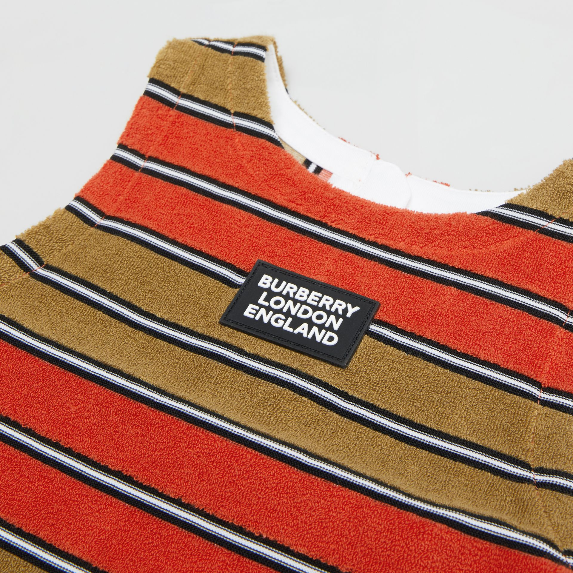 Logo Appliqué Striped Towelling Top in Vermilion Red | Burberry - gallery image 1