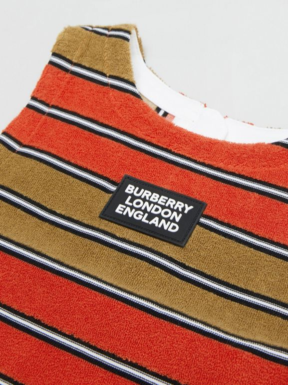 Logo Appliqué Striped Towelling Top in Vermilion Red | Burberry - cell image 1