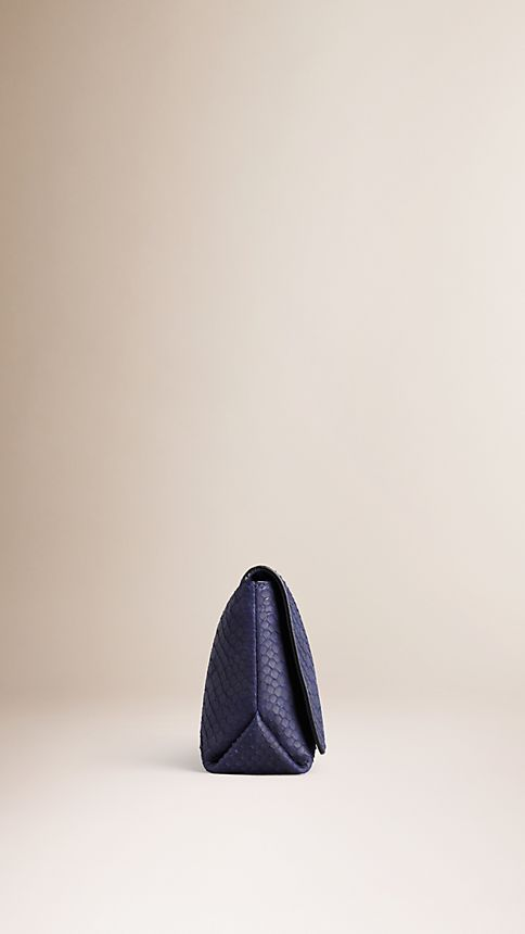 Bright regency blue Medium Nubuck Python Clutch Bag - Image 4