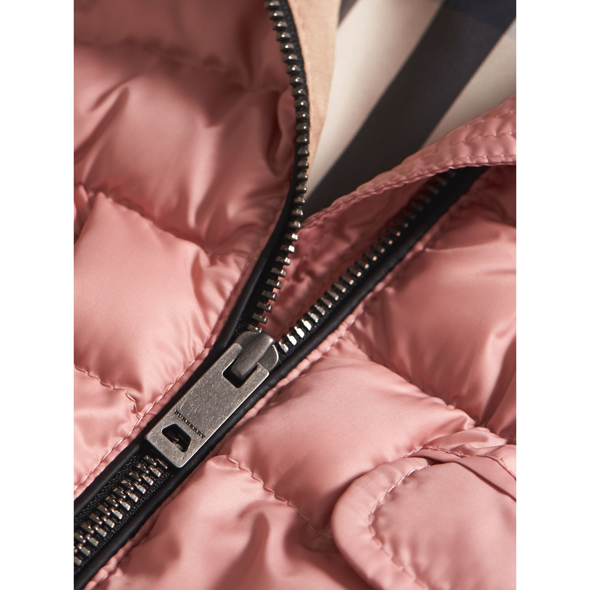 Shower-resistant Hooded Puffer Jacket in Pale Rose | Burberry - gallery image 1