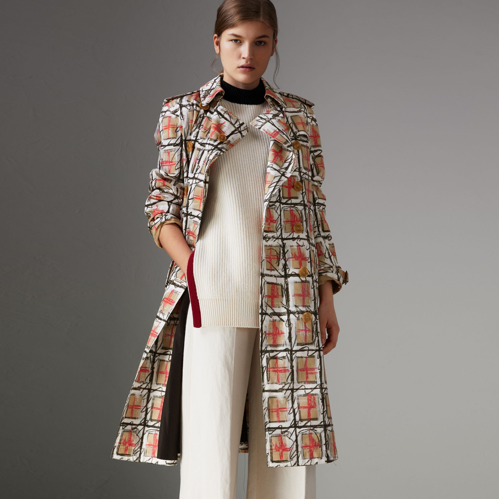 Scribble Check Cotton Trench Coat in White - Women | Burberry - gallery image 0