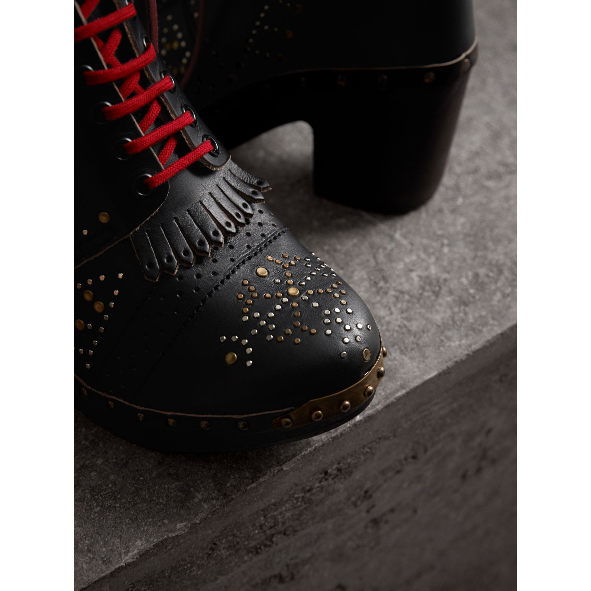 Riveted Leather Heeled Clog Boots in Black - Women | Burberry Australia - gallery image 1