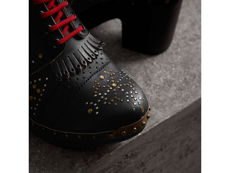 Riveted Leather Heeled Clog Boots in Black - Women | Burberry Australia - cell image 1
